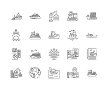 Ferry Services Line Icons, Lin...