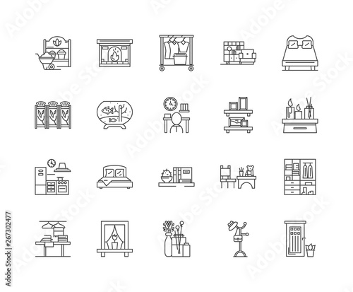 Feng shui line icons, linear signs, vector set, outline concept illustration Wall mural