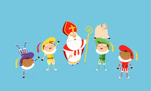 Saint Nicholas Or Sinterklass And Helpers Piets Celebrate And Having Fun - Vector Illustration Cartoon Style