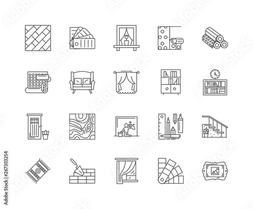 Furniture refinishing line icons, linear signs, vector set, outline concept illustration Wall mural