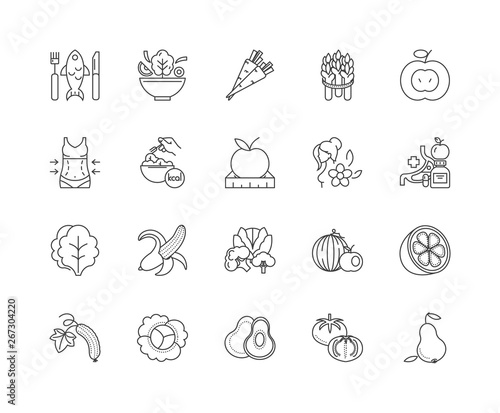 Fototapety, obrazy: Healthy eating line icons, linear signs, vector set, outline concept illustration