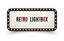 Retro Lightbox Billboard Vintage Frame. Vintage Banner Light Box. Cinema Or Show Signboard Decoration Advertise