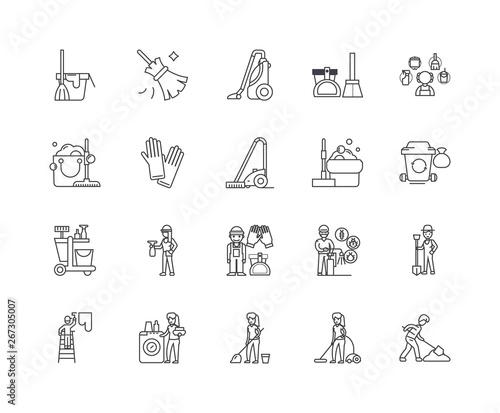 Fotografija Janitorial service line icons, linear signs, vector set, outline concept illustr