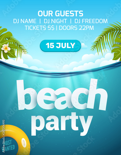 Fototapety, obrazy: Pool beach summer party invitation banner flyer design. Water and palm inflatable yellow mattress. Beach party template poster