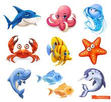 Fish And Sea Animals. Shark, Octopus, Jellyfish, Crab, Starfish, Dolphin, Narwhal. Cartoon Character 3d Vector Icon Set