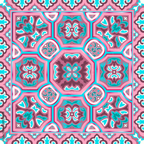 Poster Moroccan Tiles scarf pattern