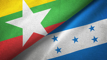 Myanmar And Honduras Two Flags Textile Cloth, Fabric Texture
