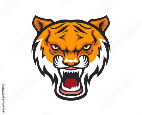 Big cat stripped tiger mascot vector illustration Wall mural