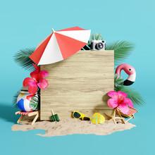 Summer Time Concept. 3d Rendering