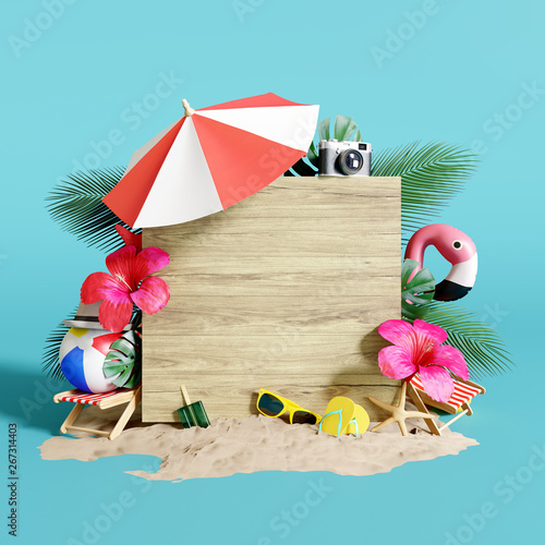 Summer time concept. 3d rendering