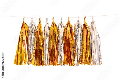 Obraz Garlands of paper tinsel gold foil, silver foil colors - fototapety do salonu