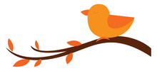 Clipart Of A Cute Little Orange Bird Perched On The Branches Of The Tree, Vector Or Color Illustration