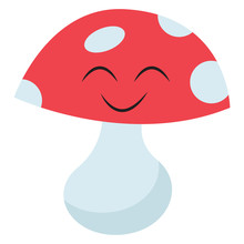 Emoji Of A Smiling Mushroom Se...