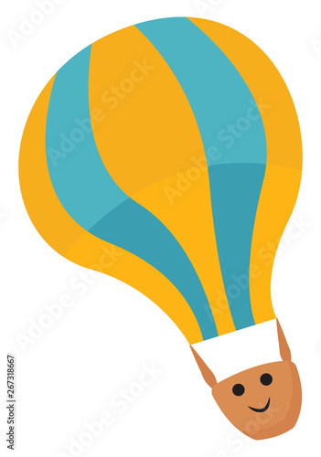 Emoji of a yellow hot air balloon, vector or color illustration Canvas Print