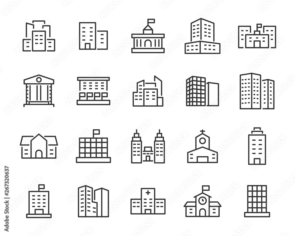 Fototapety, obrazy: set of building icons, such as city, apartment, condominium, town