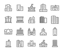 Set Of Building Icons, Such As...