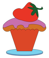Little Strawberry Cake, Vector Or Color Illustration.