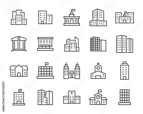 set of building icons, such as city, apartment, condominium, town