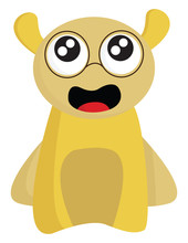 Clipart Of A Funny Yellow Mons...