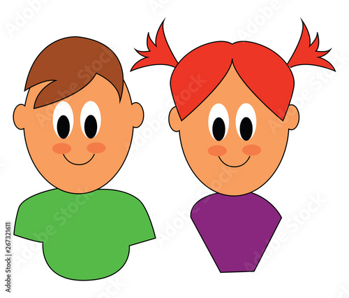 Fotografie, Tablou  Clipart of cute little boy/girl twins; Fraternal twin of different genders or sexes, vector or color illustration