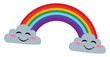 Rainbow between two clouds, vector or color illustration.