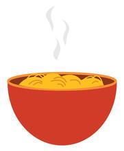Spaghetti In Orange Bowl, Vector Or Color Illustration.