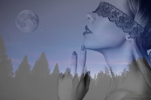 Double Exposure Portrait Of A Beautiful Girl With Lace On The Eyes And The Night Sky With The Moon And Stars Over The Forest
