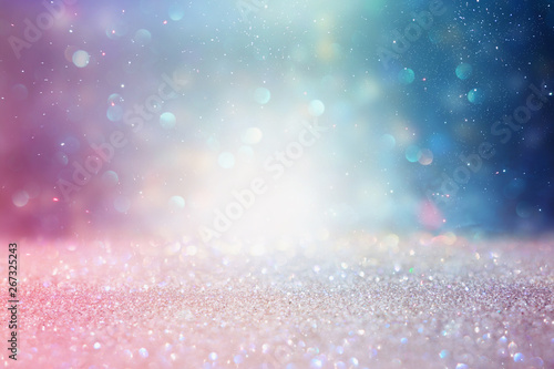 Tuinposter Europa abstract glitter silver, purple, blue and gold lights background. de-focused