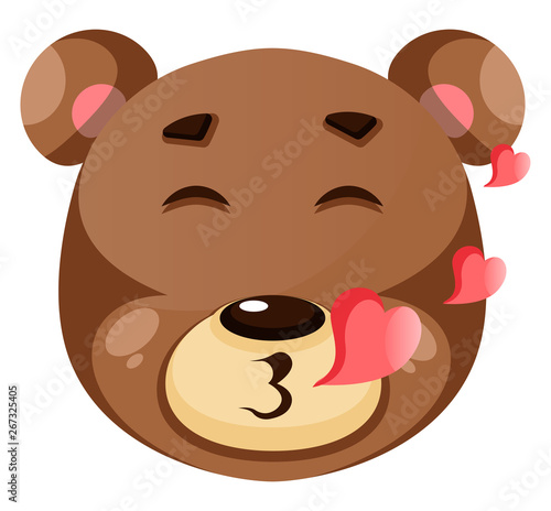 Wall Murals Bears Cute brown bear is in love, illustration, vector on white background.