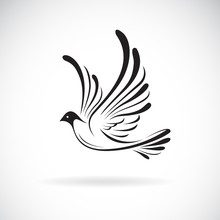 Vector Of Birds(Dove) Design On A White Background,. Wild Animals. Bird Logo Or Icon. Easy Editable Layered Vector Illustration.