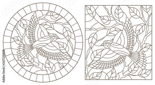 A set of contour illustrations of stained glass Windows with birds on the backgr Canvas Print