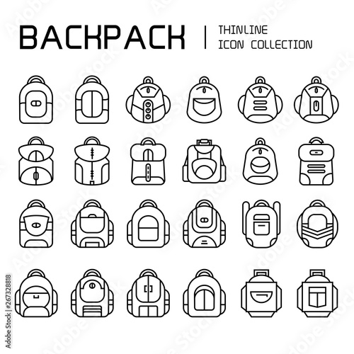 backpack icons set, line Canvas Print