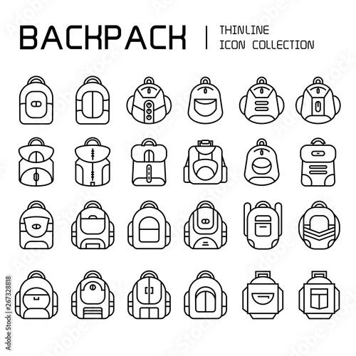 Fototapeta backpack icons set, line  obraz