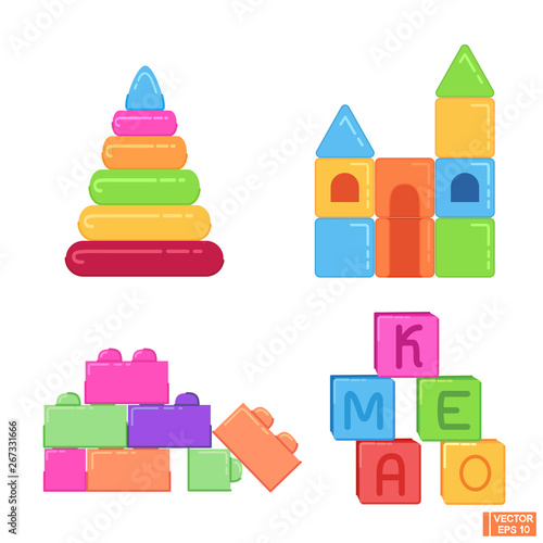 Set of children's toys in flat style