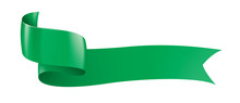 Green Ribbon On White Backgrou...