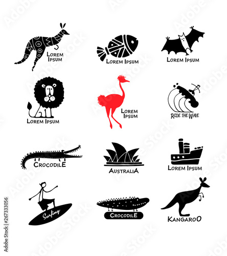 Australia icons set, sketch for your design Canvas Print