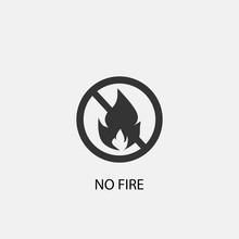 No Fire Vector Icon Solid Grey