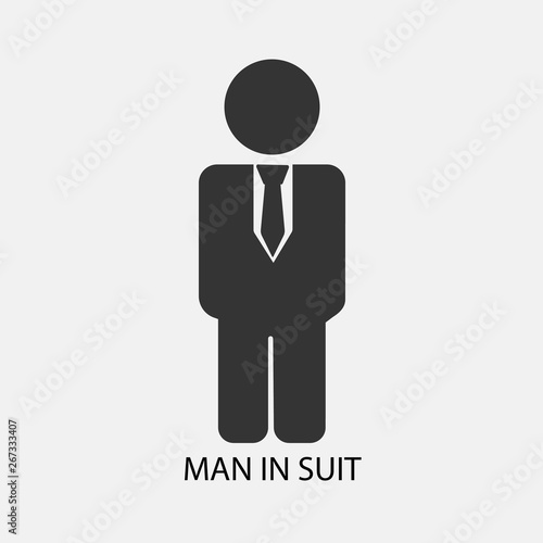 Man in suit vector icon Solid grey , Buy this stock vector