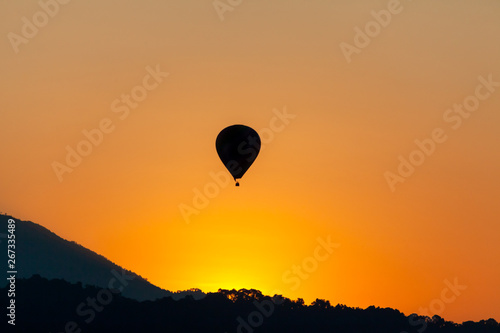 Recess Fitting Balloon Hot air balloon fly on air silhouette at sunse