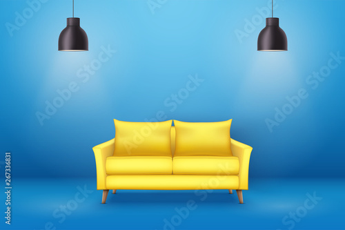 Photo Interior of Modern yellow soft sofa
