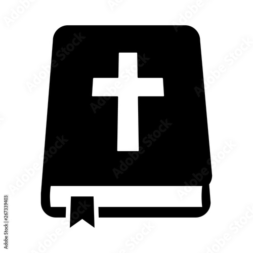 Bible holy book with cross and ribbon flat vector icon for apps and websites