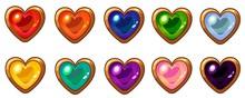 Colorful Heart Gem With Golden Frame Set For Mobile Game Interface Design.