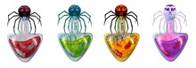 Cartoon Bottles With Poison And Spider On It, In Different Colors. Isolated.