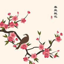 Retro Colorful Chinese Style Vector Illustration Peach Blossom Flower And A Little Bird Standing On The Branch