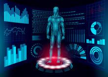 3D Low Poly Human Body HUD Display Doctor Online. Future Technology Medicine Laboratory Web Examination. Blood System Disease Diagnostics Futuristic UI Vector Illustration
