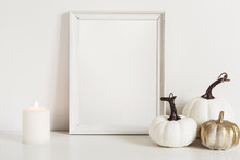 Photo Frame And White Pumpkins. Mockup Copy Space For Artwork. Autumn Decor In Interior