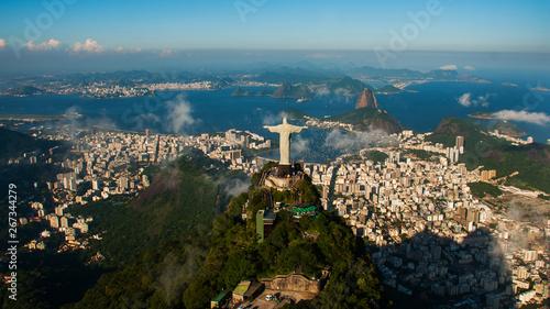 Rio de Janeiro, Brazil: Aerial view of Rio de Janeiro with Christ Redeemer and C Wallpaper Mural