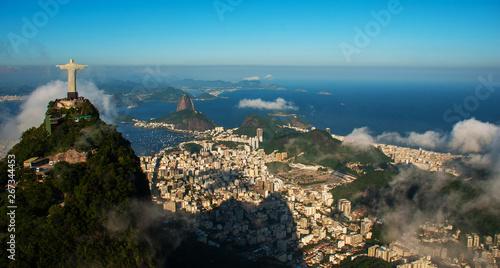 Canvas Print Rio de Janeiro, Brazil: Aerial view of Rio de Janeiro with Christ Redeemer and C