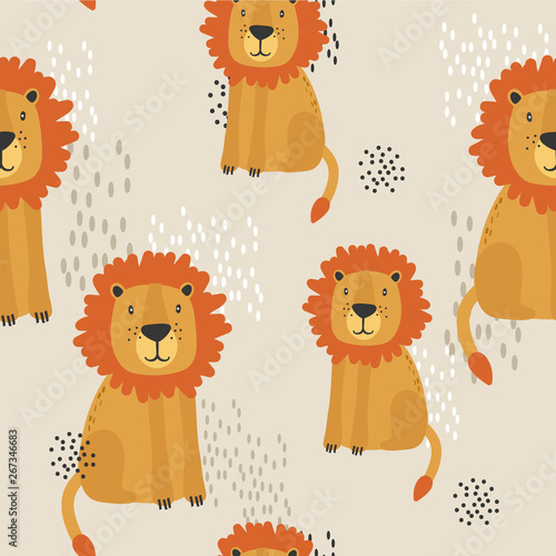 Lions, hand drawn backdrop. Colorful seamless pattern with animals. Decorative cute wallpaper, good for printing. Overlapping colored background vector
