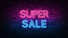 Super Sale Neon Sign. Purple And Blue Glow. Neon Text. Brick Wall Lit By Neon Lamps. Night Lighting On The Wall. 3d Illustration. Trendy Design. Light Banner, Bright Advertisement